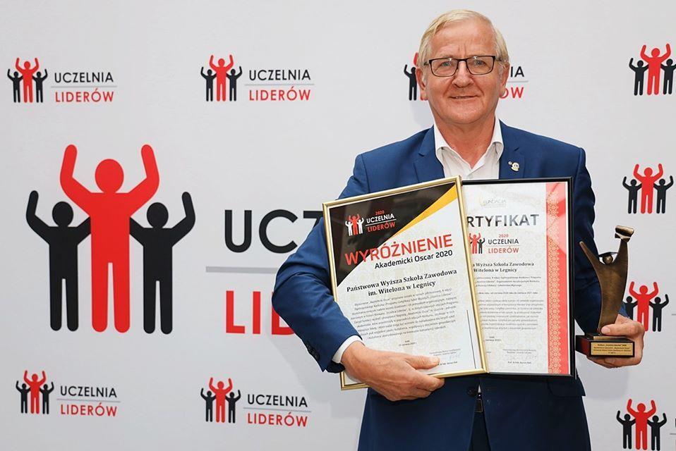 """""""Akademicki Oscar"""" itytuł """"Uczelni Liderów 2020""""  dla PWSZ im. Witelona wLegnicy"""